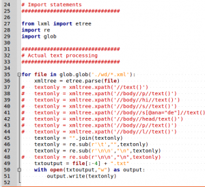 Extracting selected text from XML files using lxml in Python
